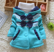 Cute Girls Two Big Bow Hooded Button Sweatshirt Korean Style Autumn Winter Child Girl Small Dot Lace Coat kt517(China (Mainland))