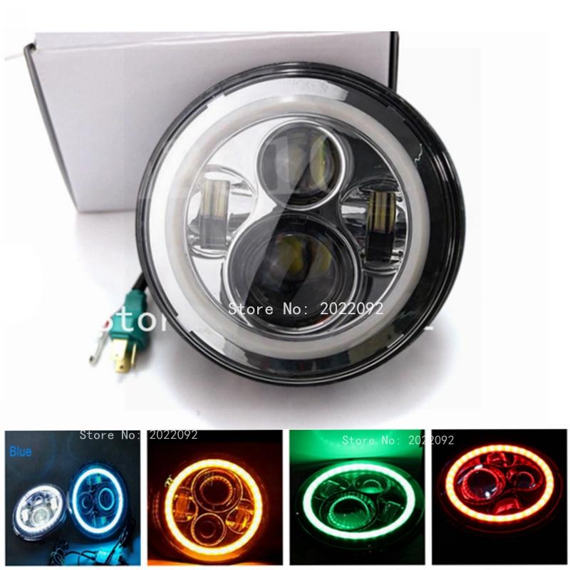 Фотография 7 Inch Round chrome LED Headlights with Halo Angle Eyes DRL For Harley Motorcycle