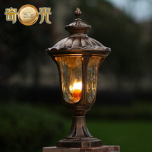 waterproof garden pillar light fitting aluminum 220V/110V bronze europe wall column outdoor post lamp warm white/cool white(China (Mainland))
