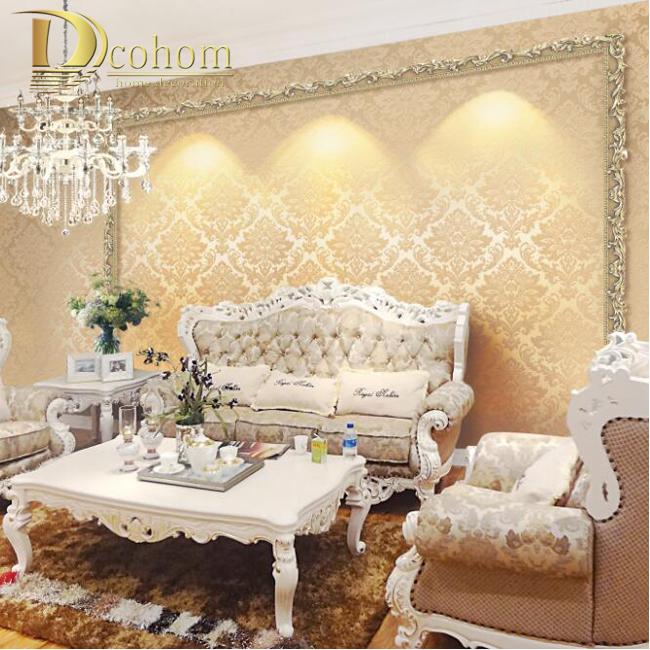 European Vintage Luxury Damask Wall Paper Pvc Embossed