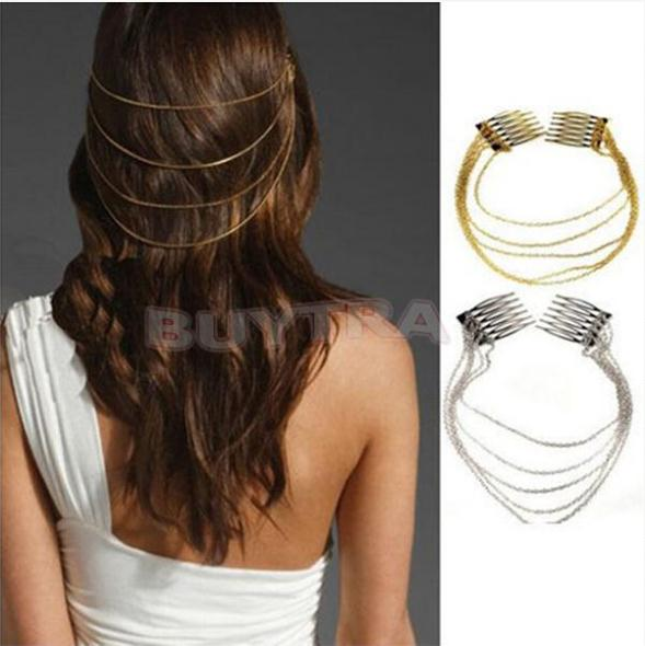 New One Pcs Punk Combs Tassel Chain Hair Cuff /Ladies Headband Rock Tassels Fringes Silver Headwear(China (Mainland))