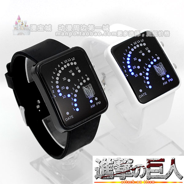 Fan-shaped led watch giant sign of jelly table shingeki no kyojin attack on titan cosplay(China (Mainland))
