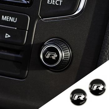 2PCS Radio button Switch protection aluminum Sticker emblem FIT MK7 GOLF 7 R