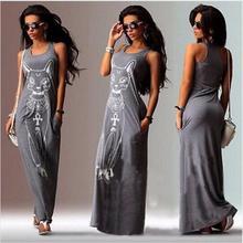 Women Summer Long Dress 2016 Sexy Casual Cat Print Boho Long Maxi Beach Dress Evening Party Bodycon Dress Vest Sundress Vestidos(China (Mainland))