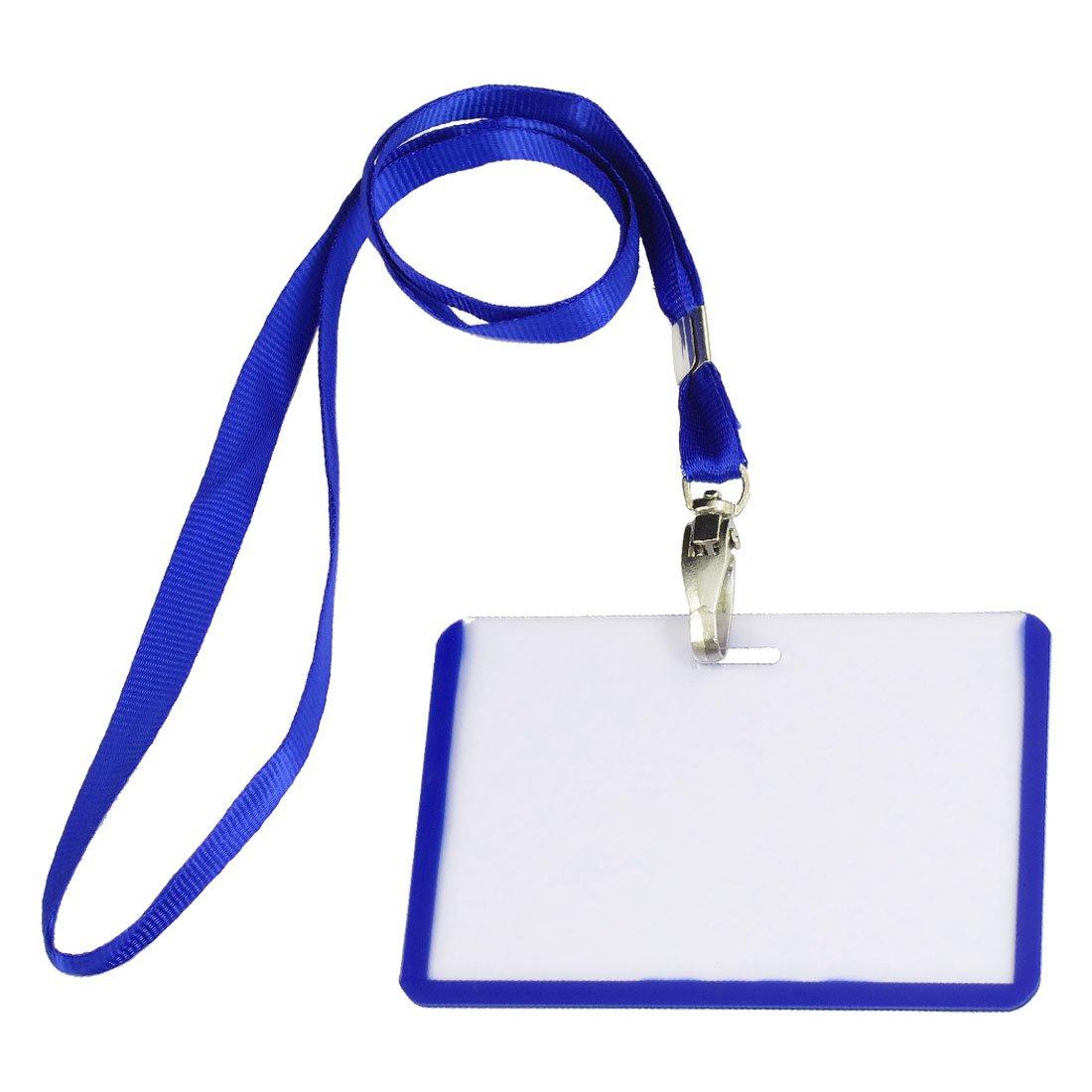 Гаджет  Botique 2 Pcs School Office Blue Lanyard Horizontal B8 ID Name Badge Card Holders None Офисные и Школьные принадлежности