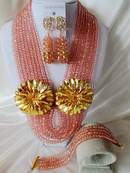 Fashion Nigerian African Wedding Beads Jewelry Set , Crystal Necklace Bracelet Earrings Set C1440<br><br>Aliexpress