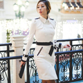 Black white women spring coat 2016 long coats belt England Double breasted slim trench coats for
