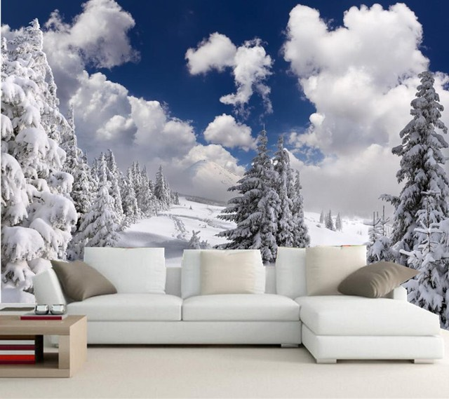Custom photo wallpaper murals winter fir snow clouds trees for Winter wall murals