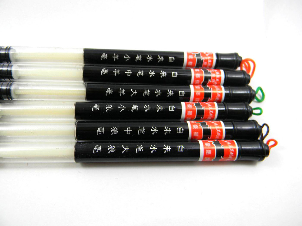 6 Pc Set Piston Water Brush Chinese Japanese Calligraphy