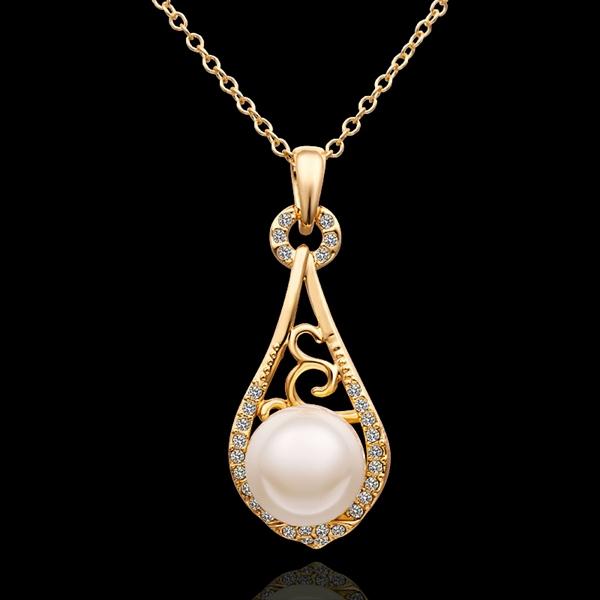 18K Yellow Gold plated fashion jewelry Austria Crystal,rhinestone,CZ diamond,Nickle Free pendant necklace KN627 - fei shao's store