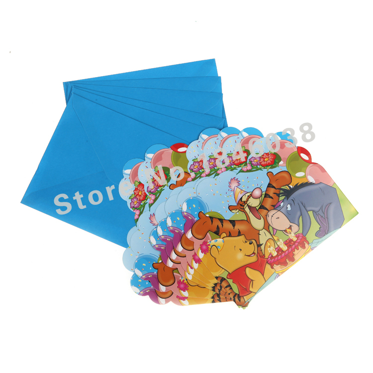 6pcs/pack Envelop Shape Winnie the Pooh Theme Party Invitation Card Children Girl Birthday/Festival Party Card Supplies(China (Mainland))
