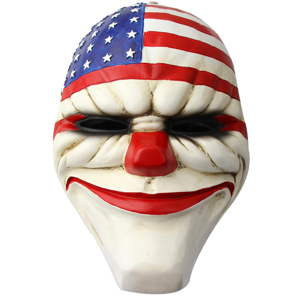 Fashion Game Payday 2 Dallas Masks Resin Costume Prop Dress Film Movie Heist Joker Clown Cosplay Holloween Mask - 4evertrading store