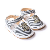 2015New Lovely Baby First Walkers Cow Muscle Soft Soled Sandals Striped Saby Shoes Princess Toddler shoes
