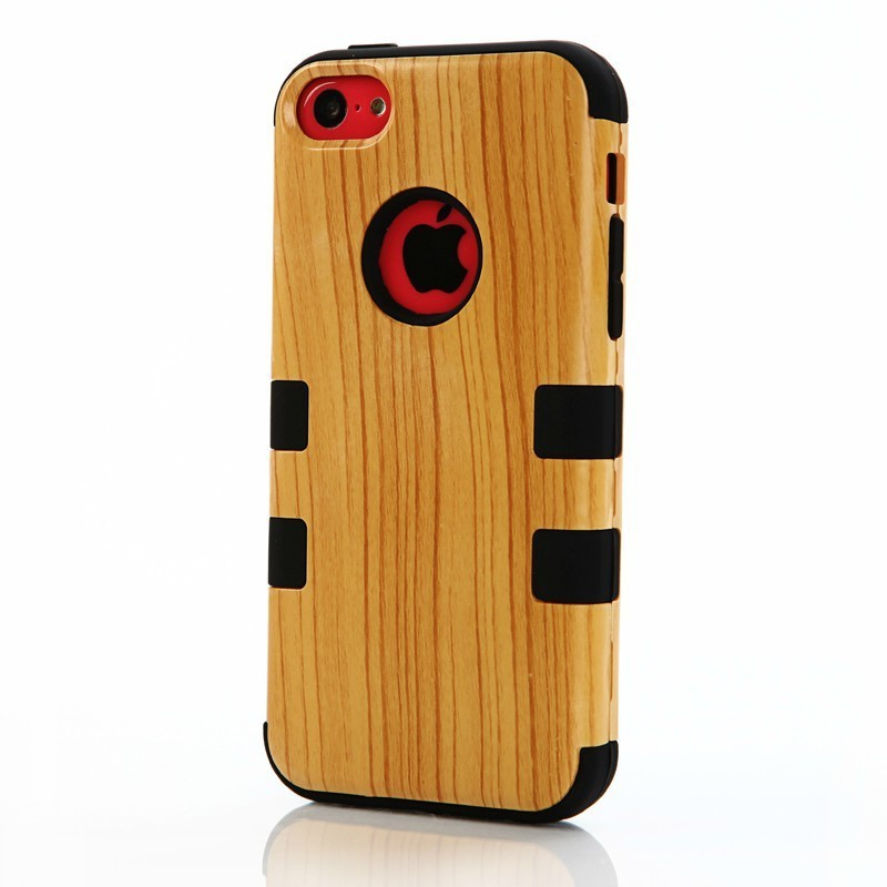 Wood Defender Armor Case Robot Series Hybrid Armored Case For iPhone 5C Protective Shell Skin Phone Case Cover Silicon+PC