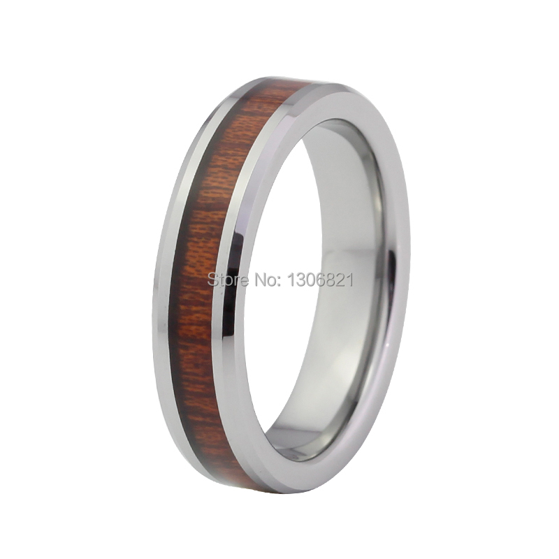 Very Nice 6mm Red Wood Inlay Tungsten Ring Tungsten Wedding Ring-in Rings From Jewelry ...