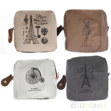 Classic Retro Canvas Tower  Wallet Card Key Coin Purse Bag Pouch Case 4 pattern for Women Girl