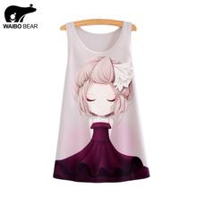 WAIBO BEAR New 2016 dress girl Print Women Sleeveless Top T Shirt Female Tank Tops Camisole Blusas Femininas(China (Mainland))