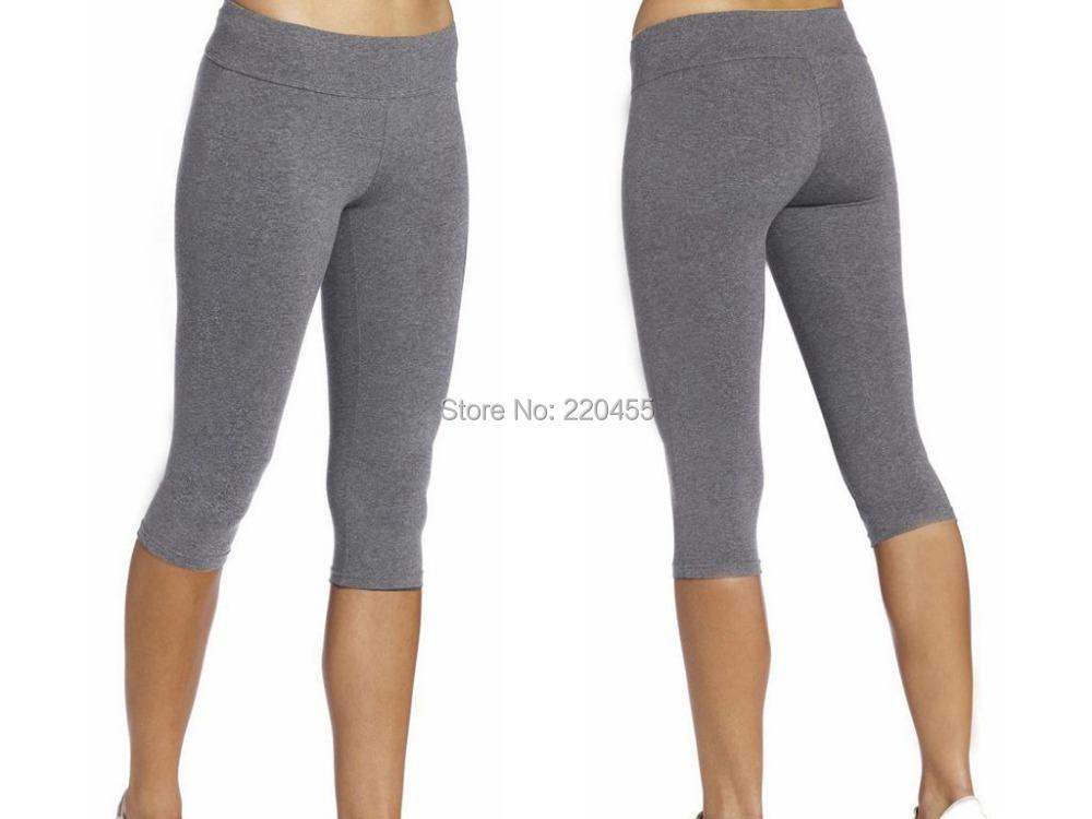 Womens Legging Skinny Celana Capri Celana Olahraga Ramping Mid Rise