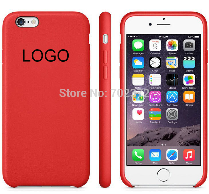 Free Film With LOGO Original 1:1 Leather Case cover for iPhone 6 4.7 / 5.5 case Original Copy Back Cover Official Style(China (Mainland))