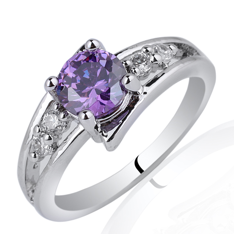Mix Order  Lots 5 Pieces 925 Sterling Silver Ring  Purple Amethyst  Fashion Accessories for Women MX2<br><br>Aliexpress