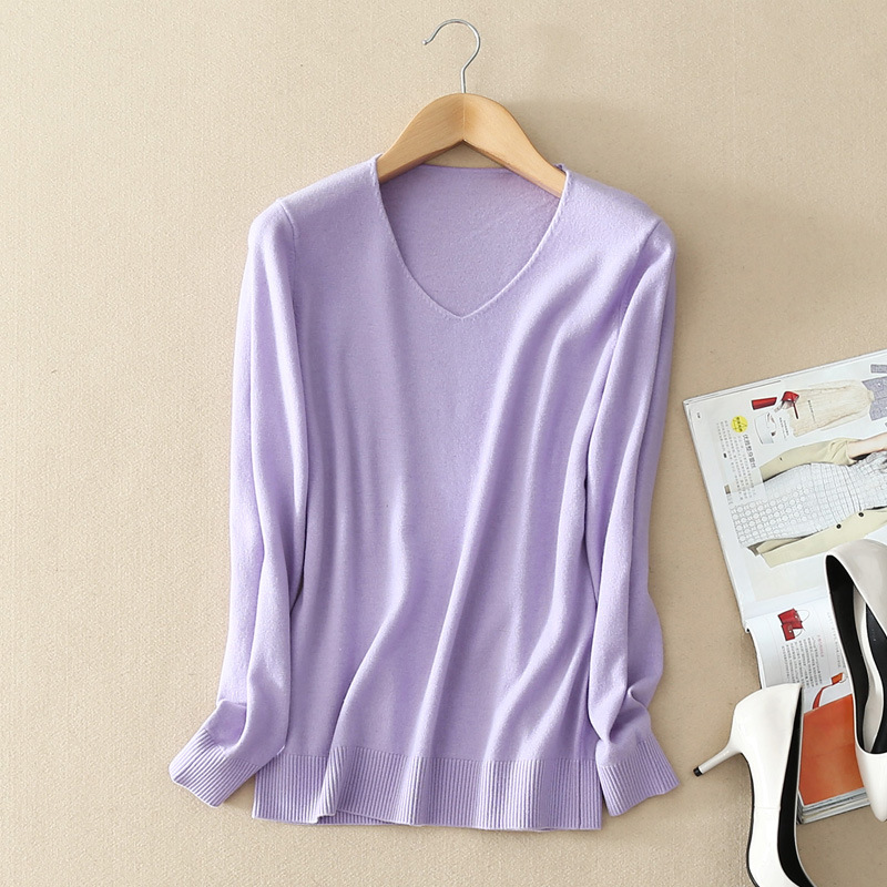 New 2015 Winter Sweater Women Wool blend knitted sweater v neck long sleeve sweater women sweaters and pullovers
