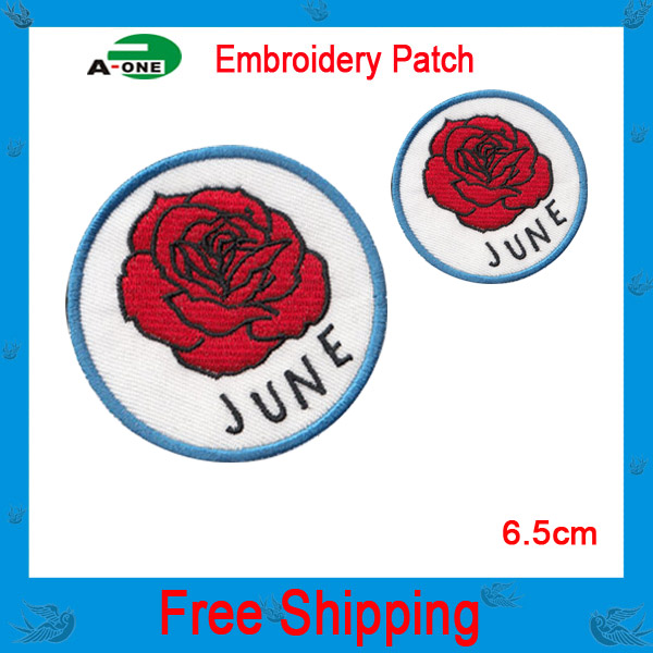 Free shipping 20pcs/lot good quality team badges full embroidered patch sticker for garments/bags(China (Mainland))