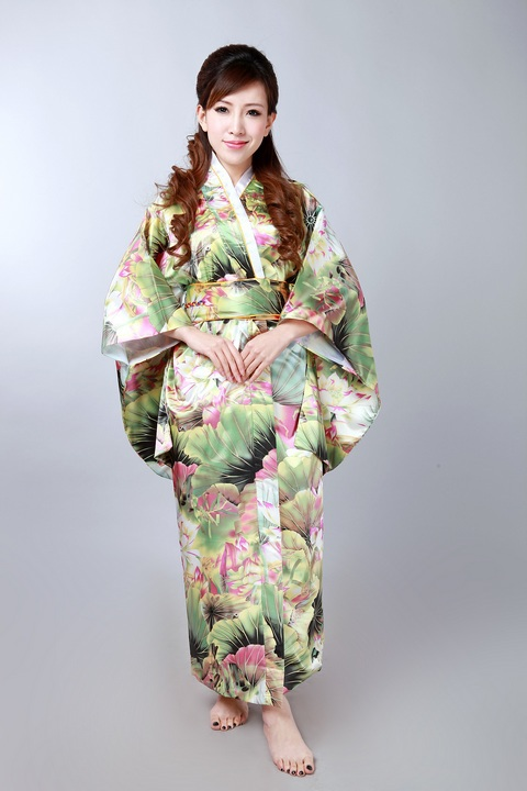 2014 NEW Green Japanese Vintage Original Tradition Silk Yukata Kimono Dress with Obi One size H0041-B Free shippingОдежда и ак�е��уары<br><br><br>Aliexpress