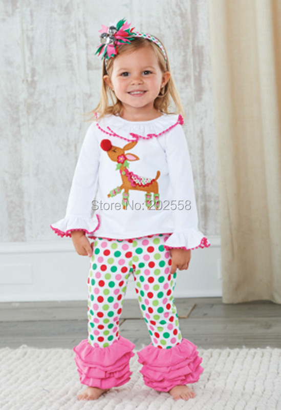 2015 Fashion reindeer girls long-sleeved t-shirt + pants suits dot girls Christmas clothing outfit(China (Mainland))