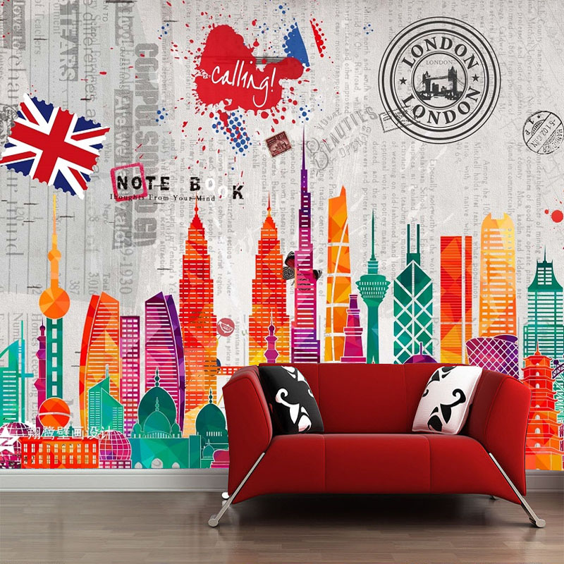 discount London city collage art mural home decor accessories for living room office free shipping(China (Mainland))
