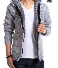 Hot Men's clothing knitted outerwear male thickening hood Long hair sweater outerwear Men liner cardigan sweater male W136(China (Mainland))
