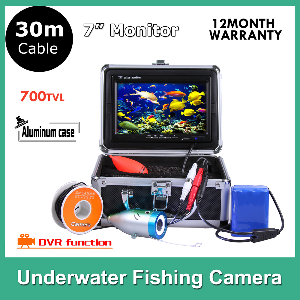 7 Inch LCD Underwater Video Camera System ICE Fish Finder 8pcs LED Light Fishing Optional WIth DVR function 30M cable(China (Mainland))
