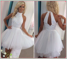 White Prom Dresses Short Tulle Halter Graduation Dresses with Sequins Beadings Backless Homecoming Cocktail Dresses Custom Made(China (Mainland))