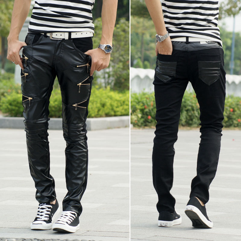 Hot Fashion Trend Of Men Men 39 S Clothing Casual Personality Zipper Male Black Faux Leather Slim