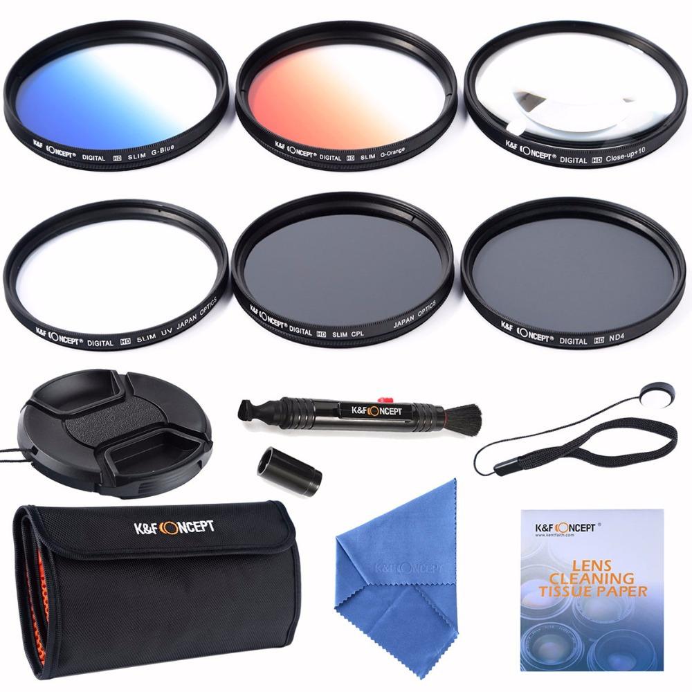 K&F Concept 49mm Slim UV CPL ND4+2pcs Graduated Color Filter+Macro Close Up +10 Lens Filter For Canon 1100D 650D 600D 60D 6D(China (Mainland))