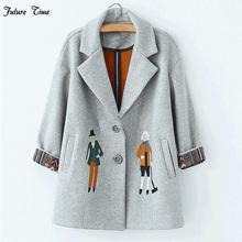 2017 autumn women coats,European fashion Female woolen jackets Embroidery outwear winter grey coats cashmere coat femme C0361(China (Mainland))