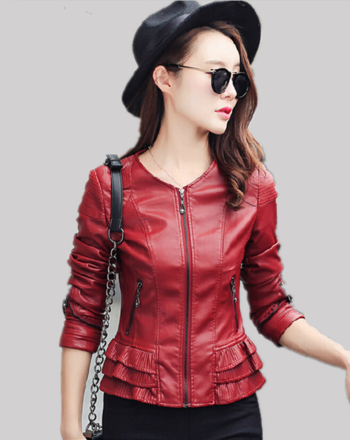 Мода пальто 2016 весна и осень женщины кожаная куртка верхняя одежда кожаная одежда ...