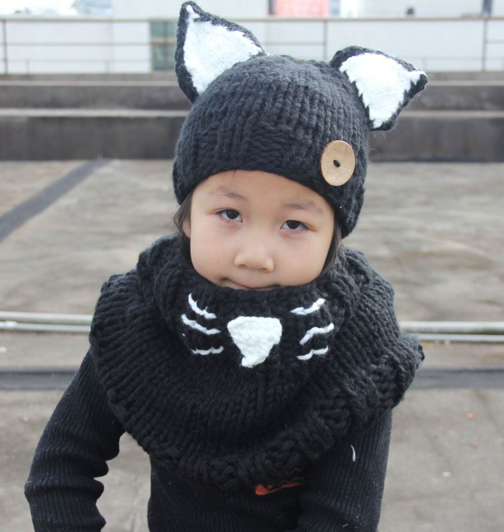 2016 Winter New Design Girl Hats Fox Ears Cartoon Hats Scarf Warm Knitted Cotton Caps 1-10T MZ238