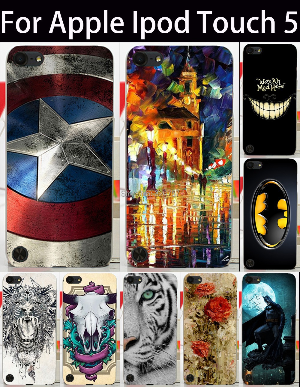 New DIY Captain America Paint Street Flower One Piece BatMan Goats Animal Tiger Cute mobile phone Case for Apple iPod Touch 5(China (Mainland))