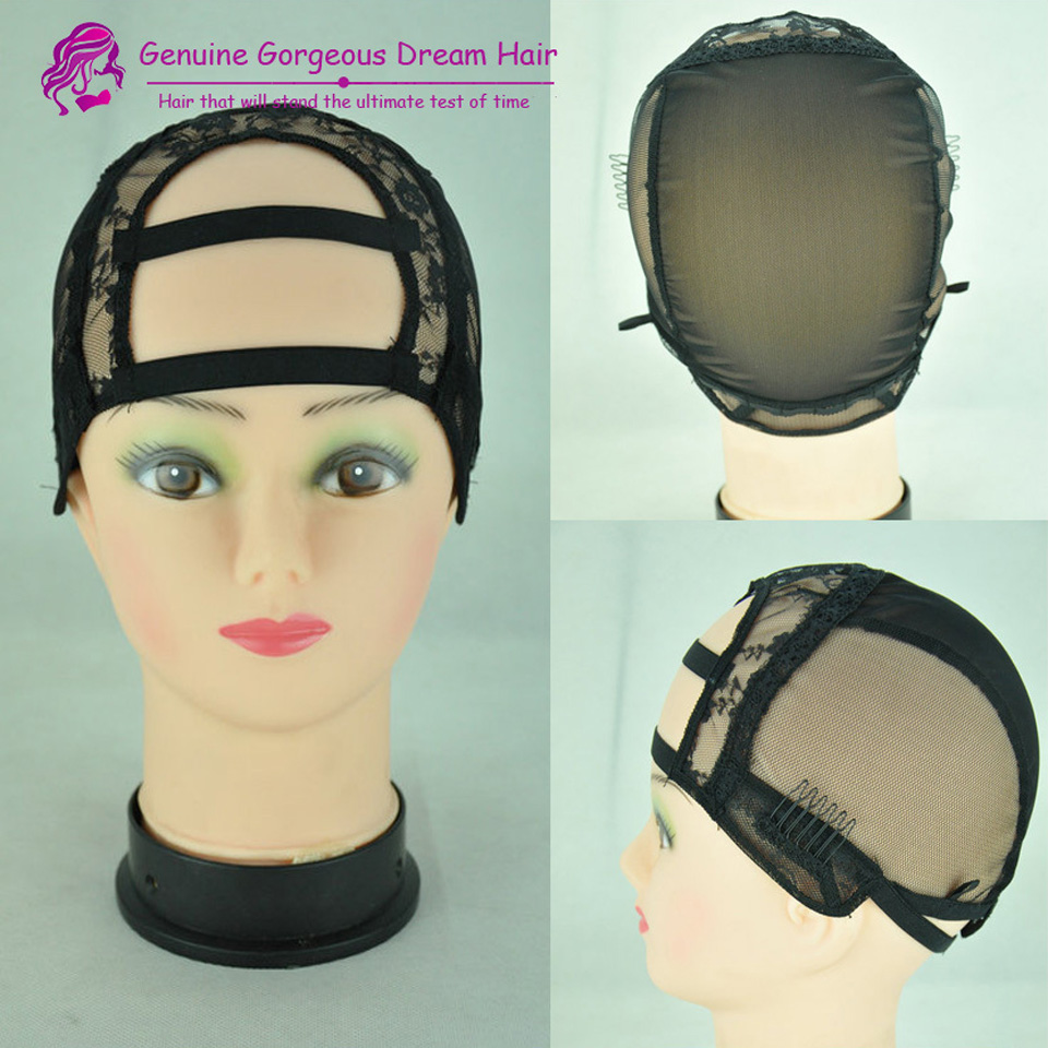 5PCS High Quality Black Machine Made Middle U Part Wig Caps Glueless Full Lace Wig Cap Inner Cap Net Free Shipping<br><br>Aliexpress