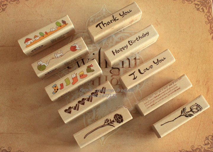 DIY Cute Kawaii Cartoon Stamp Wood Rubber Stamps for Decoration Scrapbooking Stationery(China (Mainland))