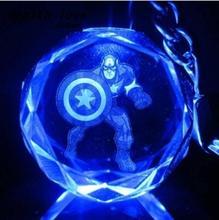 Marvel Comics Figures Captain America Figure Cartoon Anime Keychains Crystal Flashing Toys Gift for Child(China (Mainland))