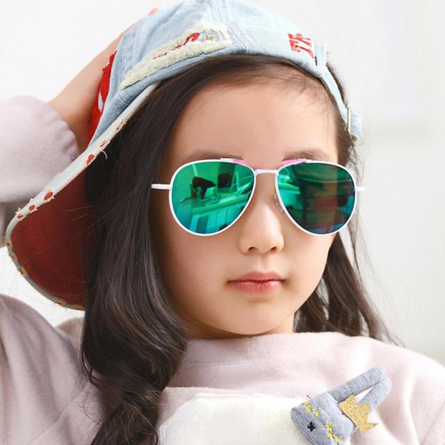 Классический пилот детские очки дети мальчики девочки UV400 металлический храм зеркало ...