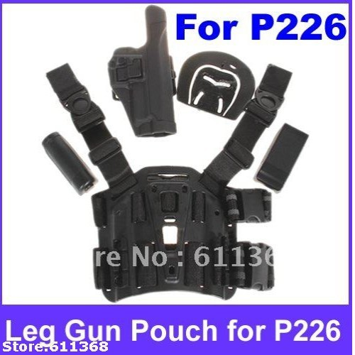 Durable Plastic Tactical Puttee Thigh Pistol Holster Leg Gun Pouch with Quick Release Buckle for P226 Type Pistol-black