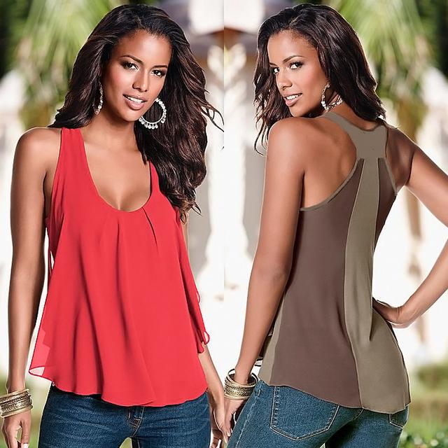 Женская лето шифон рукавов блузка женские сексуальная свободную свободного покроя ...
