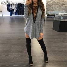Buy ZANZEA Women Dress 2017 Sexy Long Sleeve Bandage Lace V Neck Long Tops Blusas Loose Casual Mini Dress Vestidos Plus Size for $9.24 in AliExpress store