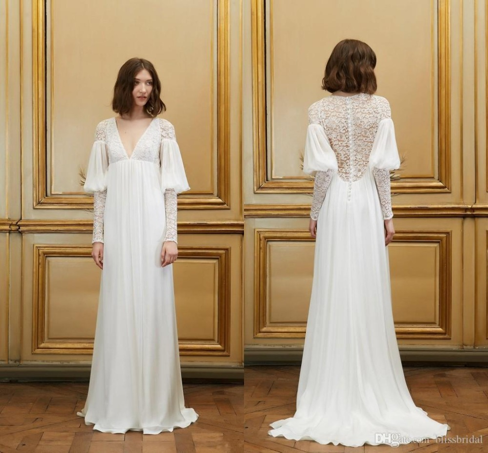 Bohemia with lace wedding dresses beach v neck vintage for Cheap vintage lace wedding dresses
