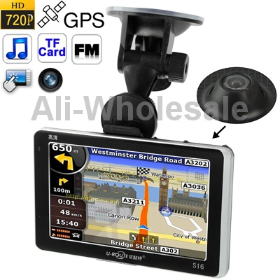 5.0inch Touch Screen GPS Navigator/720P DVR0.3Mega Pixels 127Degree Wide Angle Lens 2x TFCards,FM Transmitter 4GB Memory / Map(China (Mainland))