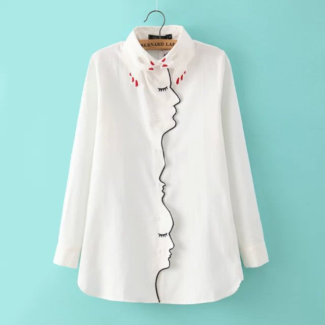 2015 spring ladies' new finger face print turn collar embroidered long sleeve blouse - Chic Classic Store store