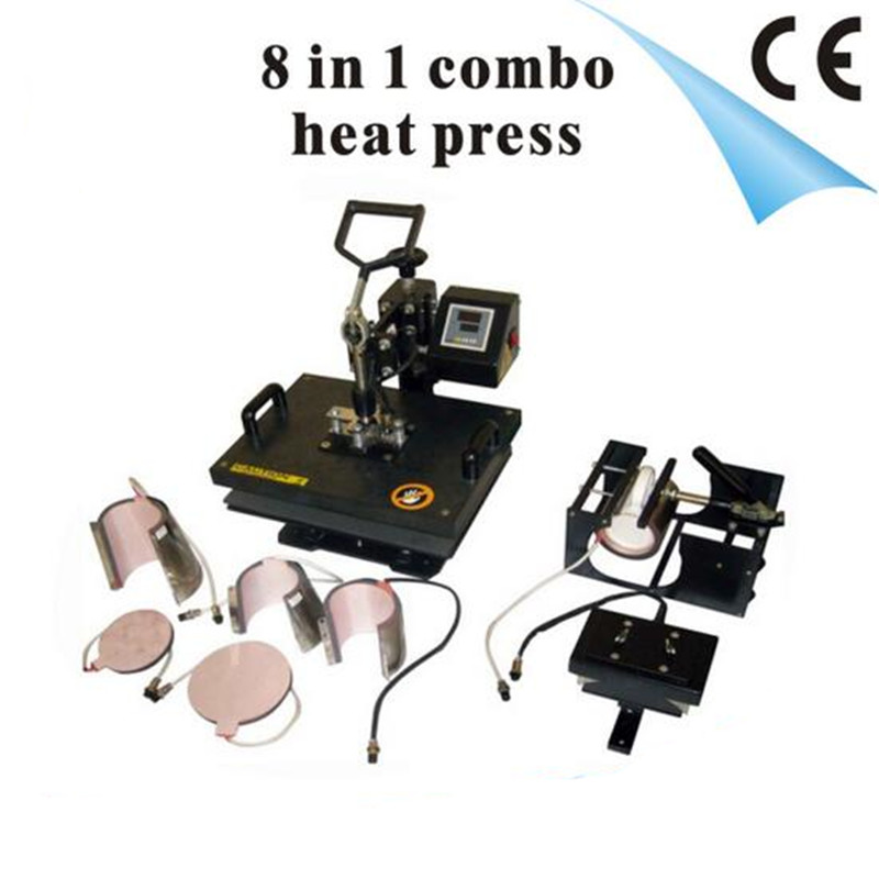 New Design 9 In 1 Combo Heat Press Machine,220V Heat Transfer/Sublimation Machine Can Be Used On Plate/Mug/Cap/TShirt Etc(China (Mainland))