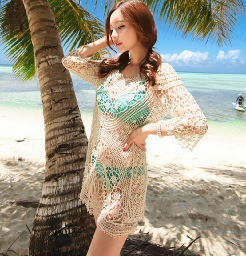 2016 Womens Sexy Mesh Lace Hollow Crochet Swimwear Swimsuit Cover up Beach Tunic Women Dress Tops Beach Cover Ups(China (Mainland))